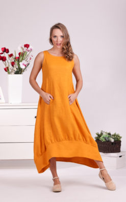 Linen Long Dress, Maternity Dress, Plus Size Maxi Dress, Mustard Dress, Linen Clothing For Women, Plus Size Linen, Sleeveless Dress, Loose