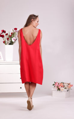 Linen Red Dress, Open Back Dress, Summer Dress, Linen Clothing For Women, Shift Dress, Plus Size Clothing, Linen Simple Dress, Sleeveless