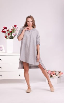 Linen Blouse Dress, Hooded Dress, Linen Tunic Dress, Plus Size Clothing, Linen Sweatshirt, Maternity Tunic, Linen Clothing For Women