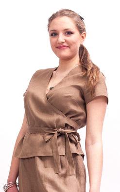 Beige linen wrap blouse women, Womens linen top short sleeve blouse, Womens linen top with belt