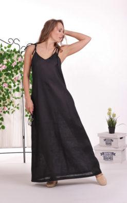 Linen Caftan, Linen Slip Dress, Black Maxi Dress, Linen Loose Dress, Linen Clothing For Women, Plus Size Linen, Summer Dress, Maternity