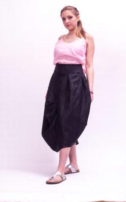 Black linen skirt mid waist skirt, linen midi-length skirt linen clothing