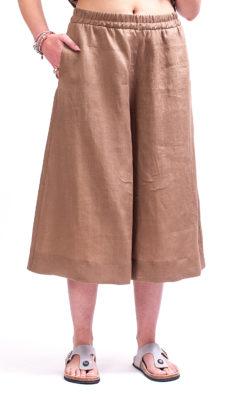 Beige wide leg linen pants women, Linen wide leg midi pants linen clothing, Skirt - pants women