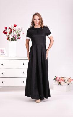 Black Shirt Dress, Linen Maxi Dress, Peasant Dress, Linen Clothing, Plus Size Dress, Fit and Flare Dress, Modest Dress, Linen Long Dress