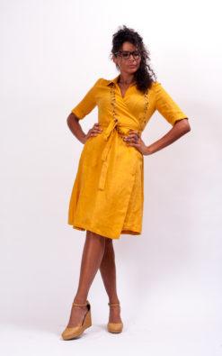 Mustard linen wrap dress with belt, womens linen clothing loose linen midi dress