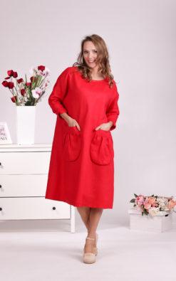 Linen Red Dress, Pockets Dress, Oversize Linen Dress, Maternity Dress, Linen Clothing For Women, Plus Size Clothing, Linen Simple Dress