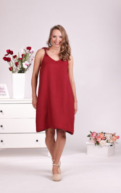 Red Summer Dress, Linen Slip Dress, Burgundy Day Dress, Midi Dress, Linen Clothing, Spaghetti Straps Dress, Linen Loose Dress, Beach Dress