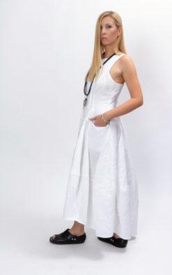 White plus size maxi dress womens linen dress organic clothing for women, White asymmetrical dress avant garde clothing for women