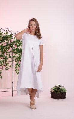 White Linen Dress, Linen Clothing For Women, Plus Size Clothing, Linen Slit Dress, White Summer Dress, Simple Wedding Dress, Beach Wedding
