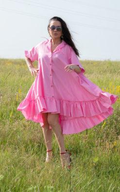 Linen Maxi Dress, Pink Linen Dress, Linen Flounces Dress, Linen Clothing, Plus Size Linen Dress, Shirt Linen Dress, Boho Dress - DR0544LE