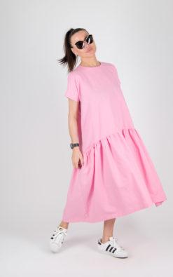 Baby Pink linen dress / Linen Woman Flounces Dress / Long linen Summer Dress