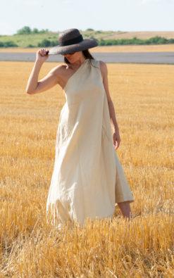 Beige Linen Summer Dress / Long Linen One Shoulder dress / Long Asymmetrical Dress / Summer long linen dress