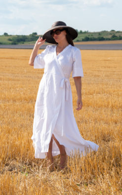 White Linen Wrap Dress Available In Plus Sizes Perfect For Summer Season
