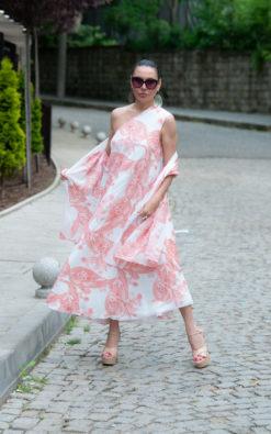 One Shoulder Dress / Long White Dress / Maxi Dress With Scarf / Two pieces Women Set / Elegant Dress / SE0656CH