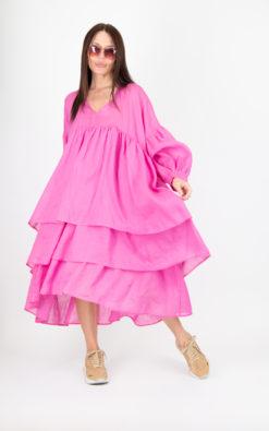 Long Maxi Pink Flounces Summer Dress / V neck Long Maxi Dress - DR0179CT