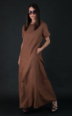Long Linen dress / Linen Summer Dress / Short sleeve linen dress with pockets - DR0390LE