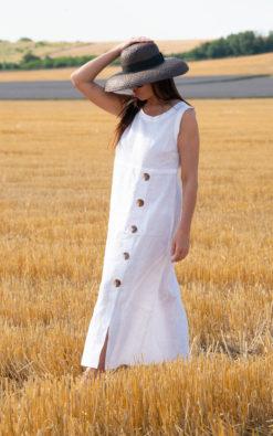Sleeveless Linen Dress / Shirt Linen Dress / White Linen Dress / Summer Linen Dress - DR0319LE