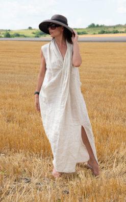 Firenze Dress / Natural Linen Summer Dress / Long Linen Sleeveless dress / Long V neck Linen Dress / Summer long linen dress - DR0948LE